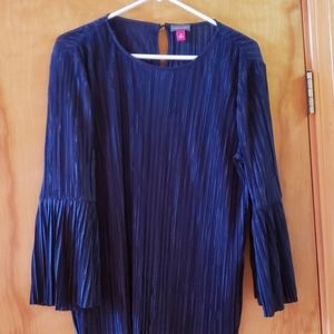 Vince Camuto navy blue blouse with flared sleeves